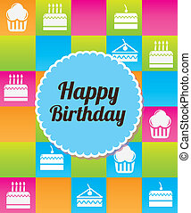 colorful birthday - happy birthday icon over colorful...