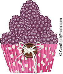 Cupcake blackberries - Scalable vectorial image representing...