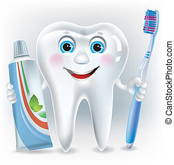 Funny tooth with toothpaste and toothbrush. Contains...