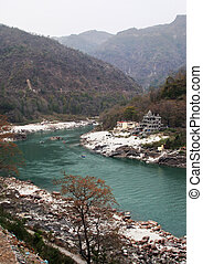 ganges near himalaya - ganges river near rishikesh in india