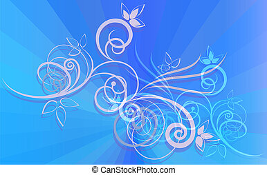 Floral ornament on blue rays background.