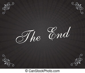 the end frame over black background vector illustration