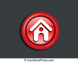 abstract glossy red home icon