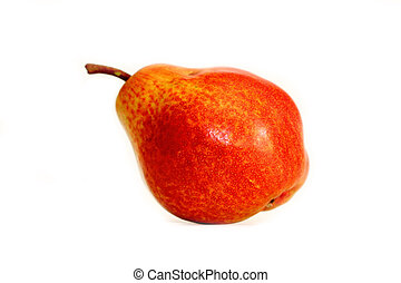 red pear - red juicy pear on a white background