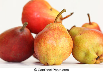 red ripe pears isolated on white background
