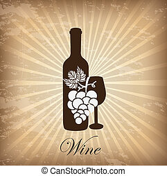 wine cover over grunge background vector illustration