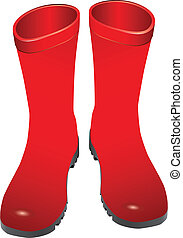 Rubber boots - Red rubber boots for wet weather. Vector...