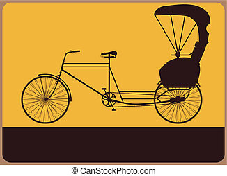 Rickshaw sign - Vintage street sign with the silhouette...