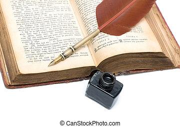 el, nuevo, testamento, (old, version), pluma, tinta, cierre,...