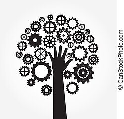 hand and Gear - hand and Gear over white background vector...
