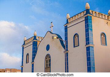 church - white and blue church on Boa Vista