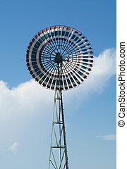 Wind Turbine with Thai Flag Colors and clouds