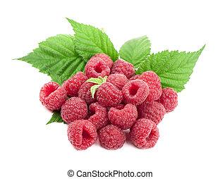 Ripe raspberry with green leaf