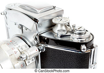 retro old vintage analog photo camera on white - detail view...