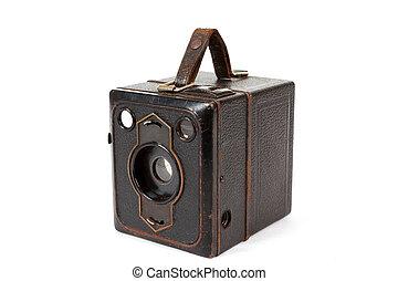 muito, antigas, vindima, câmera, branca, fundo