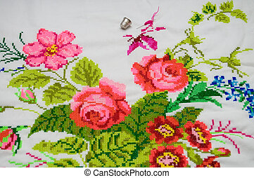cross stitch - Ukrainian ethnic embroidered pattern on white...