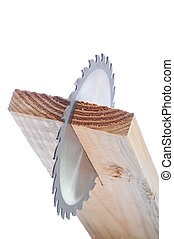 Circular Saw Blade in Board end view isolated over white...
