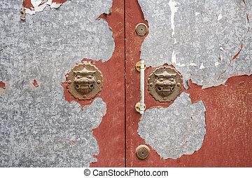 Lion Door Handles in a Beijing Hutong