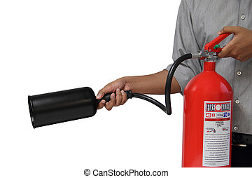 A man showing how to use fire extinguisher isolated over...