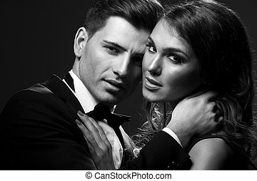 Black white portrait of a sexy couple