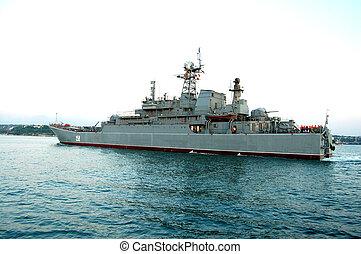 military ship - Battleship slides to home in Sevastopol