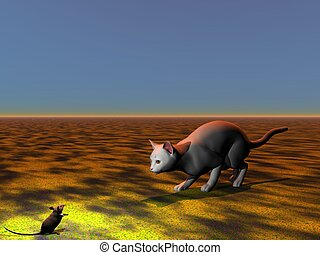 mouse and cat grey