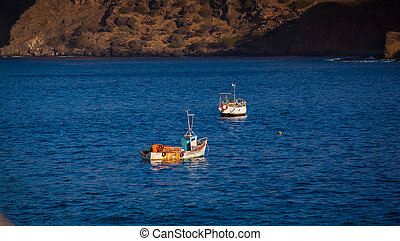two boats fishing in a bay