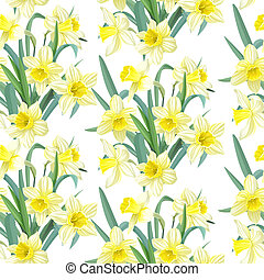 Seamless pattern yellow daffodils - Seamless pattern lush...