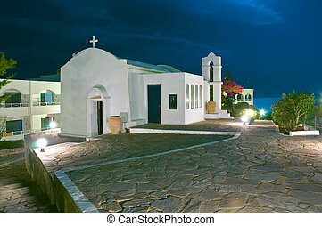 Greece orthodox chapel - Greek chapel in night light