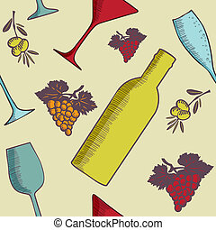 Background with wine bottles and glasses.