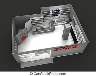 Illustration of automobile store - minimarket