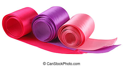 three colored ribbons - three ribbons: purple, red and pink...