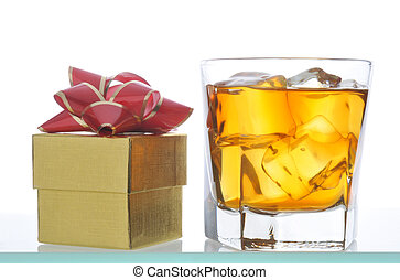 Whiskey and Gift Box isolated on white