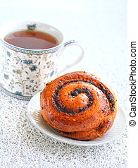French roll with poppy seeds and cinnamon