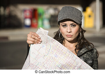 Young Woman with a Map