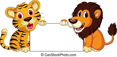 cute lion and tiger cartoon