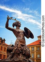 sirena, monumento, antigas, cidade, Varsóvia,...