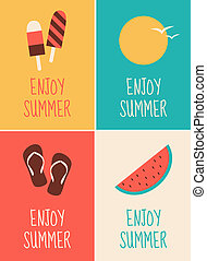 Summer Posters Collection - A set of four minimalist...