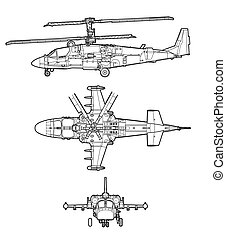 Helicopter - outline helicopter on white background