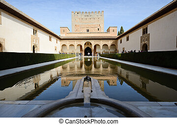 Court of the Myrtles in Alhambra - Courtyard of the Myrtles...