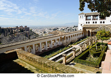 Courtyard of the acequia in Generalife, Alhambra, Granada,...