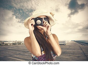 Retro photographer - Girl retro photographer with photo...