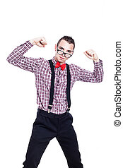 Self-confident nerd man showing his power, isolated on white...