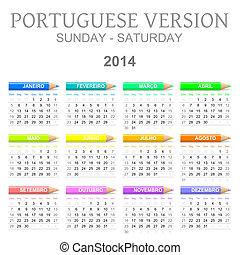 2014, クレヨン, バージョン, カレンダー, ポルトガル語