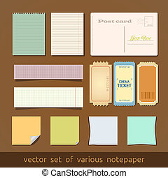 Collection of various notes paper and post card.