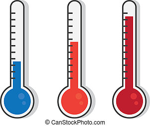 Thermometer Colors - Isolated thermometers in different...