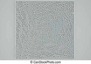 Maze. - Top view of a maze on a white background.