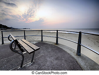 Bournemouth Beach - A bench at daybreak on Bournemouth beach