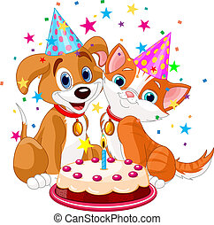 cat_n_dog_birth - The cat and dog celebrate birthday Vector...