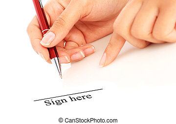 Signing the contract. Hand with pen isolated over white.
